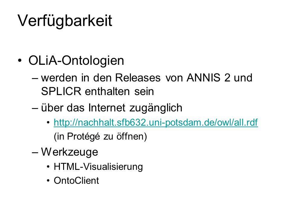 Verfügbarkeit OLiA-Ontologien –werden in den Releases von ANNIS 2 und SPLICR enthalten sein –über das Internet zugänglich http://nachhalt.sfb632.uni-p