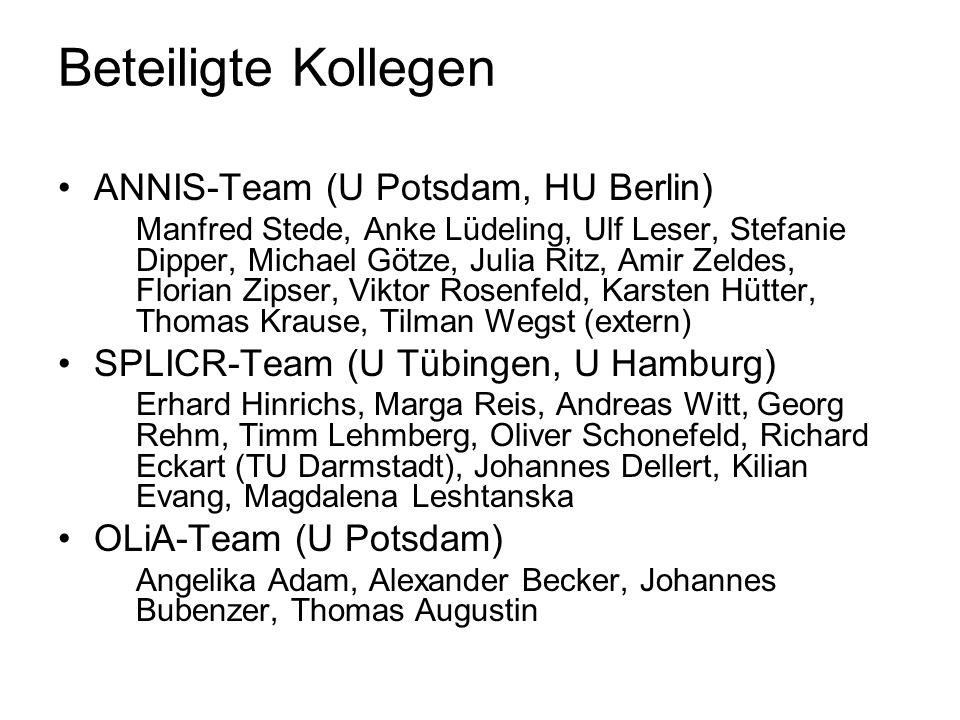 Beteiligte Kollegen ANNIS-Team (U Potsdam, HU Berlin) Manfred Stede, Anke Lüdeling, Ulf Leser, Stefanie Dipper, Michael Götze, Julia Ritz, Amir Zeldes