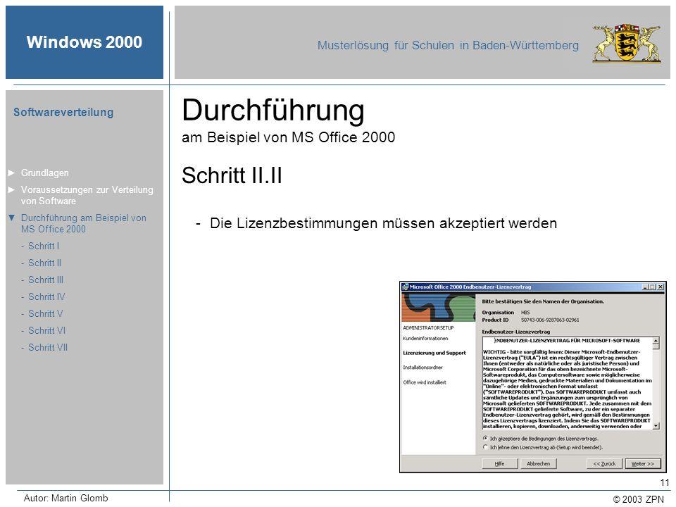 © 2003 ZPN Windows 2000 Musterlösung für Schulen in Baden-Württemberg Softwareverteilung Autor: Martin Glomb 11 Durchführung am Beispiel von MS Office