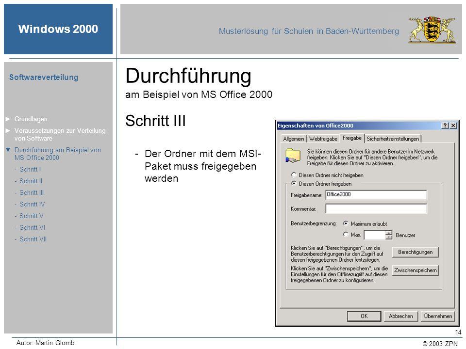 © 2003 ZPN Windows 2000 Musterlösung für Schulen in Baden-Württemberg Softwareverteilung Autor: Martin Glomb 14 Durchführung am Beispiel von MS Office