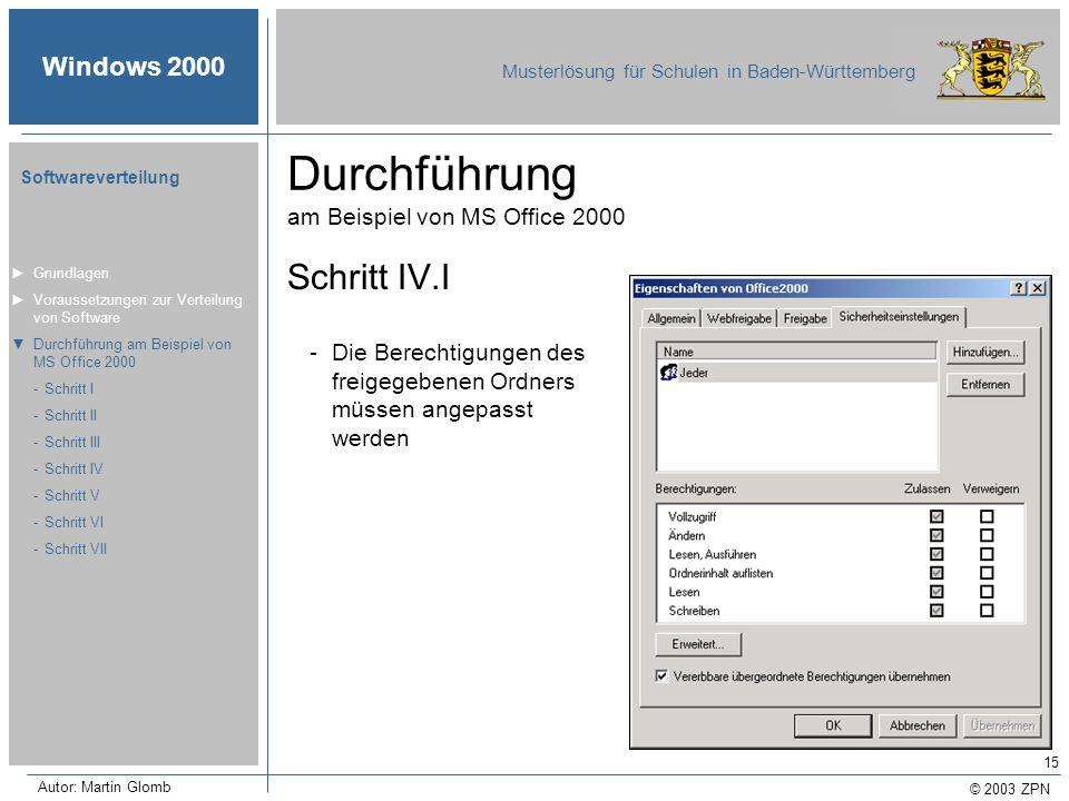 © 2003 ZPN Windows 2000 Musterlösung für Schulen in Baden-Württemberg Softwareverteilung Autor: Martin Glomb 15 Durchführung am Beispiel von MS Office