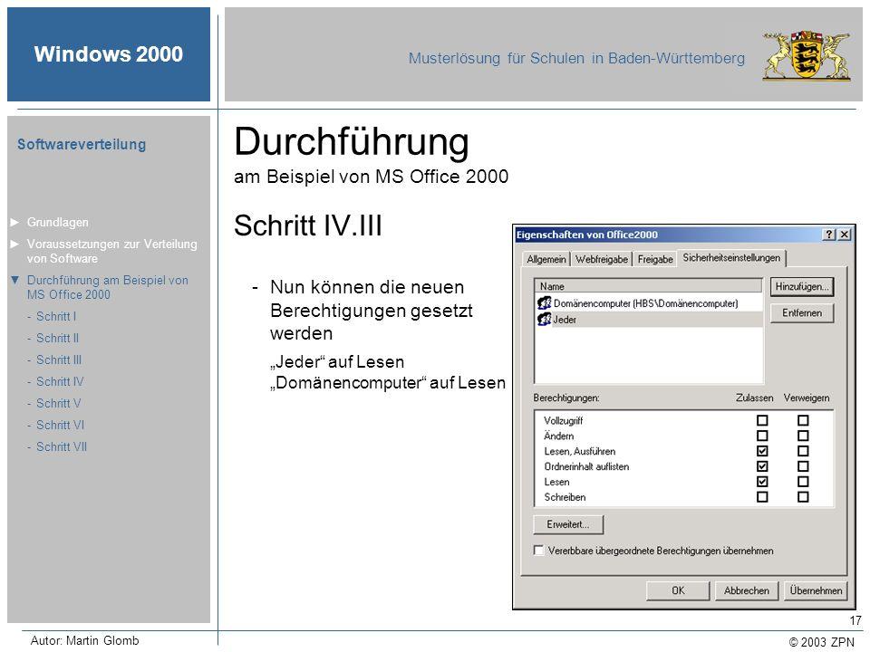 © 2003 ZPN Windows 2000 Musterlösung für Schulen in Baden-Württemberg Softwareverteilung Autor: Martin Glomb 17 Durchführung am Beispiel von MS Office