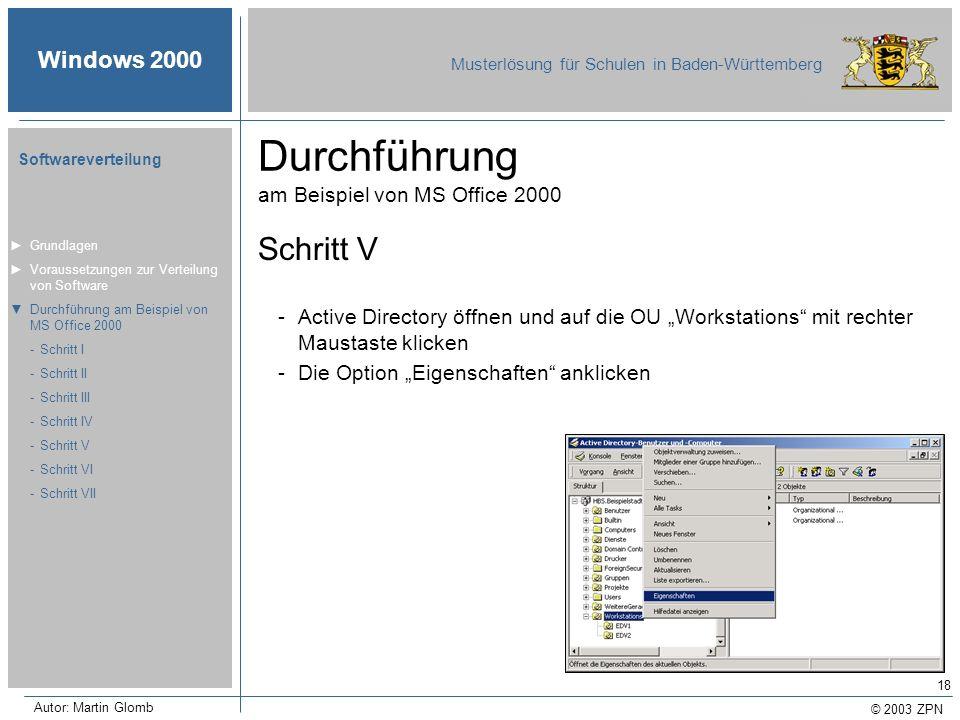 © 2003 ZPN Windows 2000 Musterlösung für Schulen in Baden-Württemberg Softwareverteilung Autor: Martin Glomb 18 Durchführung am Beispiel von MS Office