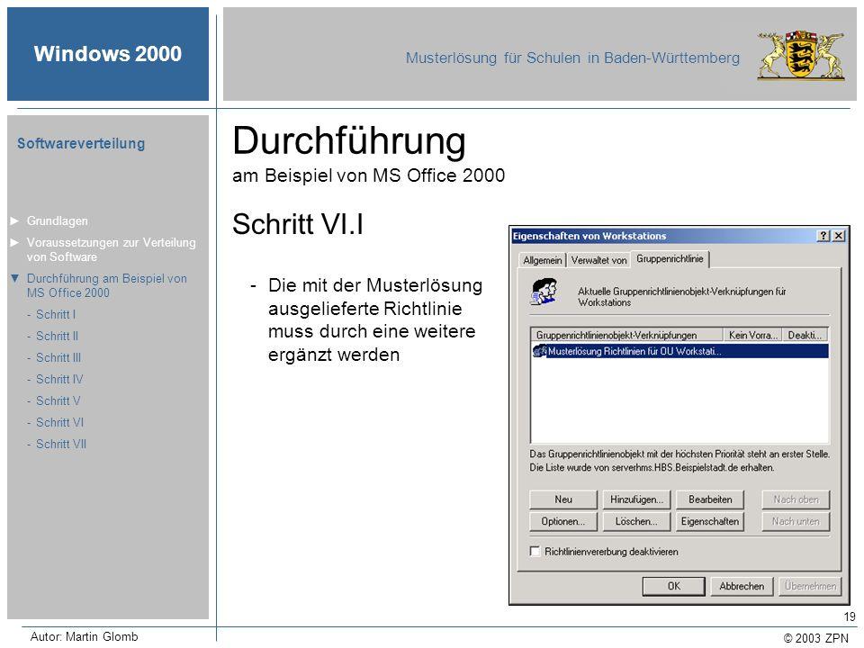 © 2003 ZPN Windows 2000 Musterlösung für Schulen in Baden-Württemberg Softwareverteilung Autor: Martin Glomb 19 Durchführung am Beispiel von MS Office