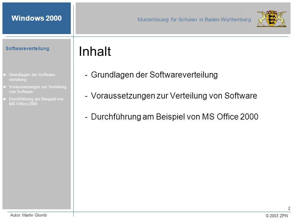 © 2003 ZPN Windows 2000 Musterlösung für Schulen in Baden-Württemberg Softwareverteilung Autor: Martin Glomb 2 Inhalt -Grundlagen der Softwareverteilu