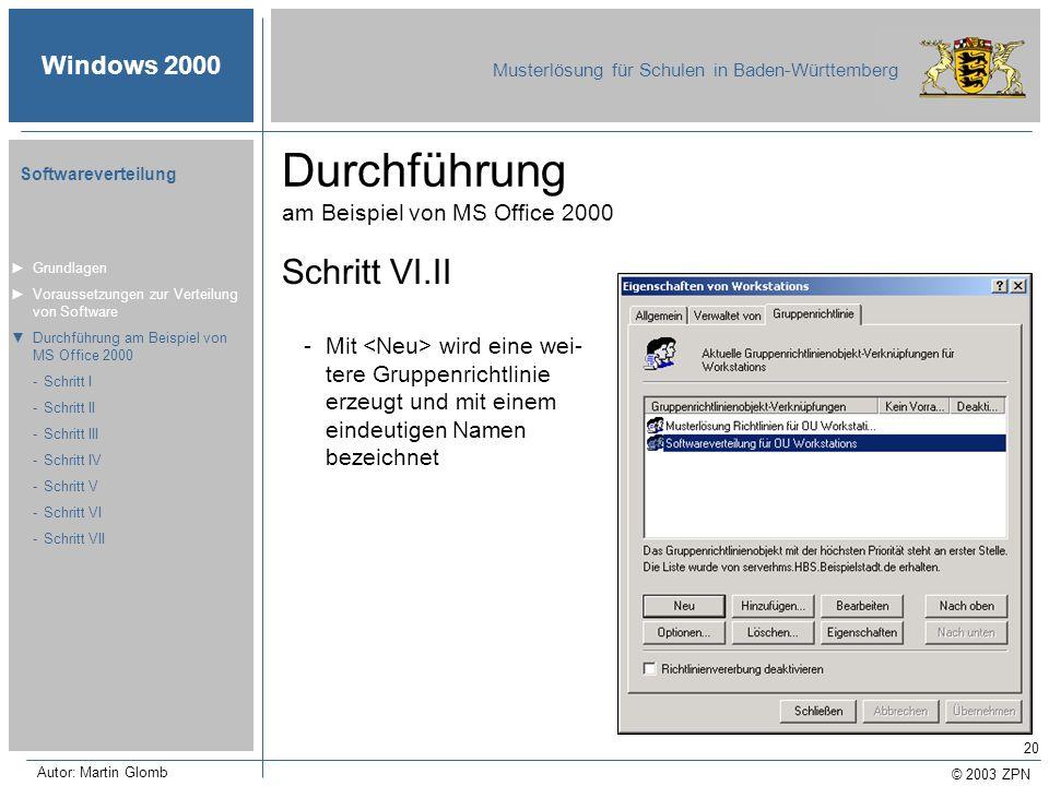 © 2003 ZPN Windows 2000 Musterlösung für Schulen in Baden-Württemberg Softwareverteilung Autor: Martin Glomb 20 Durchführung am Beispiel von MS Office