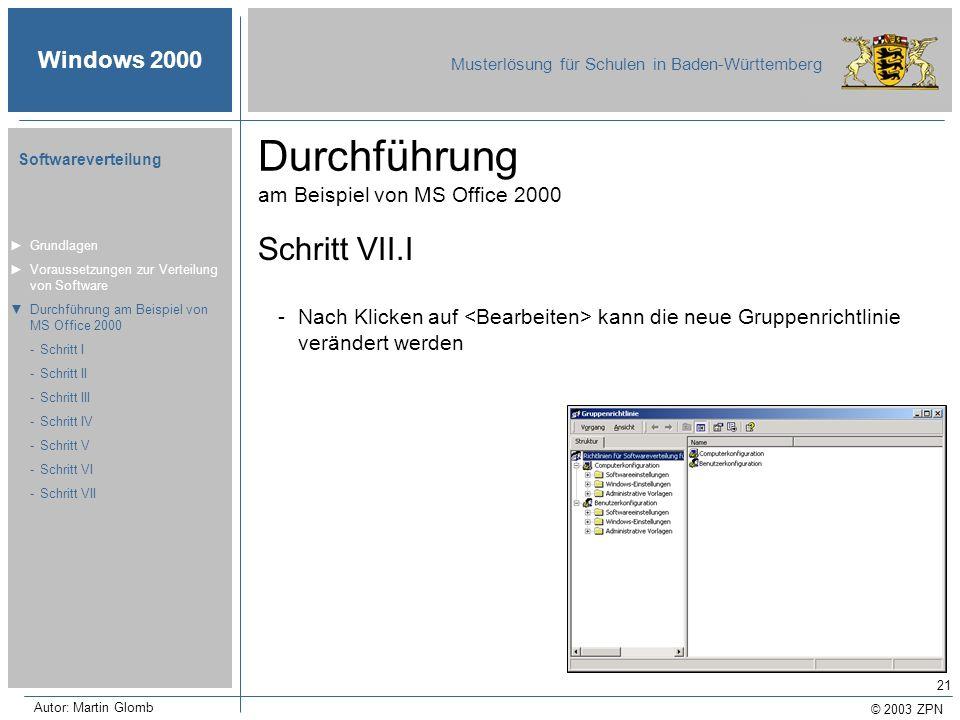 © 2003 ZPN Windows 2000 Musterlösung für Schulen in Baden-Württemberg Softwareverteilung Autor: Martin Glomb 21 Durchführung am Beispiel von MS Office