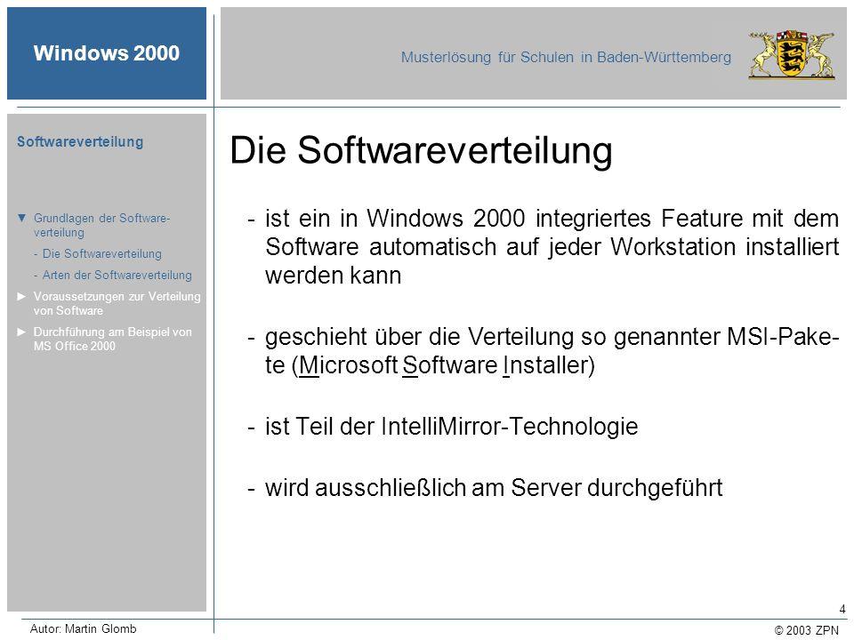 © 2003 ZPN Windows 2000 Musterlösung für Schulen in Baden-Württemberg Softwareverteilung Autor: Martin Glomb 4 Die Softwareverteilung -ist ein in Wind