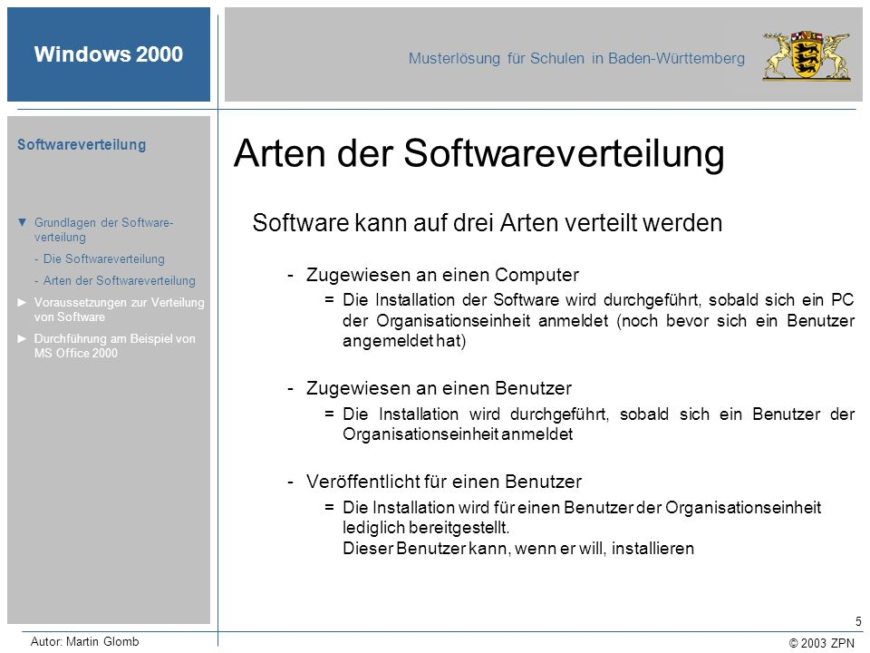 © 2003 ZPN Windows 2000 Musterlösung für Schulen in Baden-Württemberg Softwareverteilung Autor: Martin Glomb 5 Arten der Softwareverteilung Software k