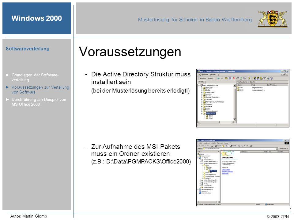 © 2003 ZPN Windows 2000 Musterlösung für Schulen in Baden-Württemberg Softwareverteilung Autor: Martin Glomb 7 Voraussetzungen -Die Active Directory S