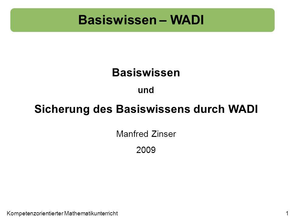 Basiswissen – WADI 1Kompetenzorientierter Mathematikunterricht Basiswissen und Sicherung des Basiswissens durch WADI Manfred Zinser 2009