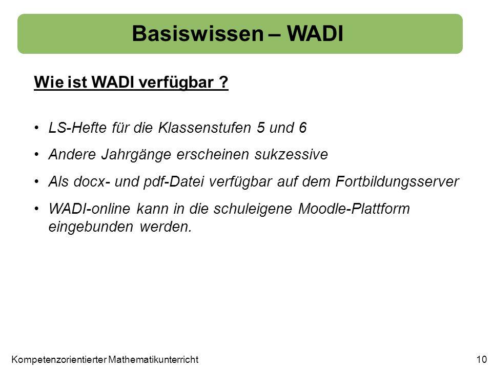 10 Basiswissen – WADI Wie ist WADI verfügbar ? LS-Hefte für die Klassenstufen 5 und 6 Andere Jahrgänge erscheinen sukzessive Als docx- und pdf-Datei v