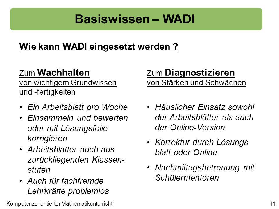 Wie kann WADI eingesetzt werden ? Basiswissen – WADI 11 Zum Wachhalten von wichtigem Grundwissen und -fertigkeiten Zum Diagnostizieren von Stärken und