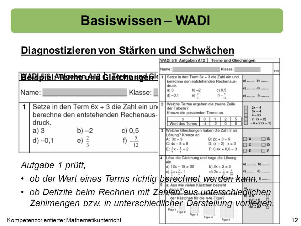 Basiswissen – WADI Diagnostizieren von Stärken und Schwächen 12 Beispiel: Terme und Gleichungen Aufgabe 1 prüft, ob der Wert eines Terms richtig berec