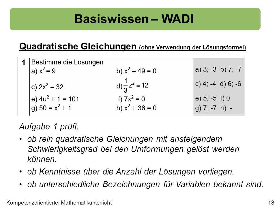 Basiswissen – WADI Quadratische Gleichungen (ohne Verwendung der Lösungsformel) 18 Aufgabe 1 prüft, ob rein quadratische Gleichungen mit ansteigendem