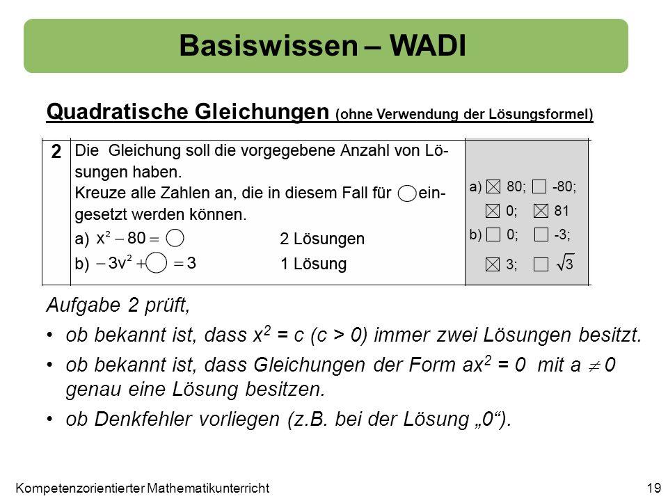 Basiswissen – WADI Quadratische Gleichungen (ohne Verwendung der Lösungsformel) 19 Aufgabe 2 prüft, ob bekannt ist, dass x 2 = c (c > 0) immer zwei Lö