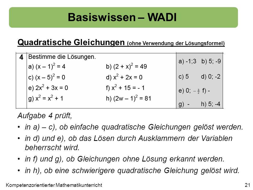 Basiswissen – WADI Quadratische Gleichungen (ohne Verwendung der Lösungsformel) 21Kompetenzorientierter Mathematikunterricht Aufgabe 4 prüft, in a) –