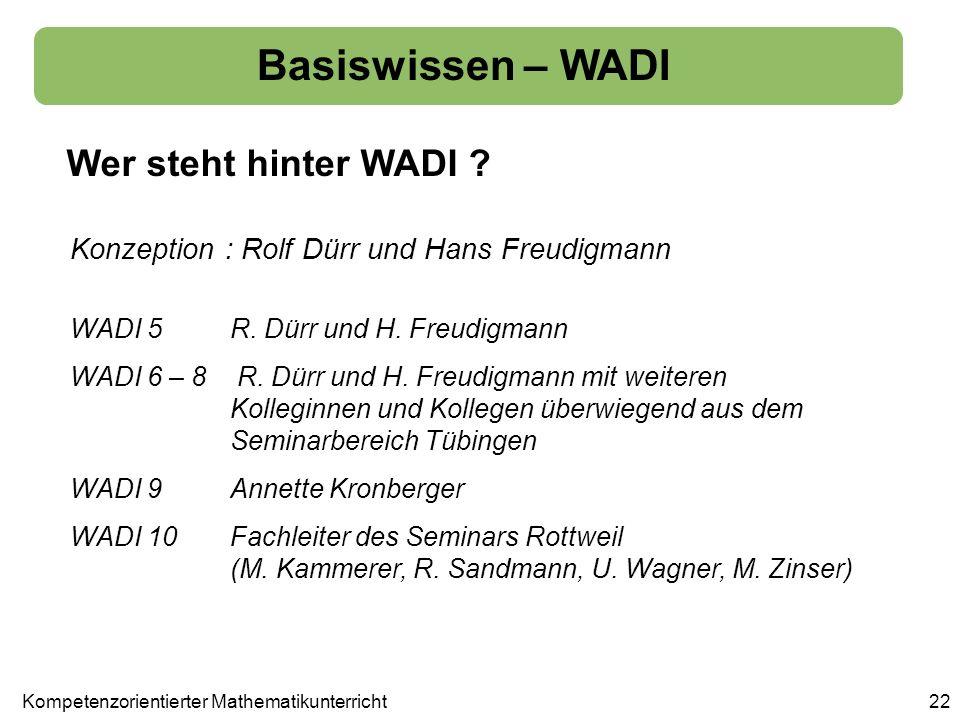 Basiswissen – WADI Wer steht hinter WADI ? 22 WADI 5 R. Dürr und H. Freudigmann WADI 6 – 8 R. Dürr und H. Freudigmann mit weiteren Kolleginnen und Kol