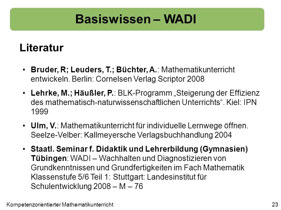Basiswissen – WADI Literatur 23 Bruder, R; Leuders, T.; Büchter, A.: Mathematikunterricht entwickeln. Berlin: Cornelsen Verlag Scriptor 2008 Lehrke, M
