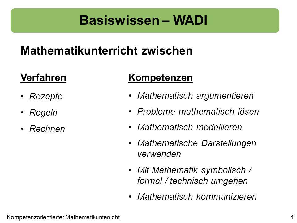 aber Basiswissen – WADI 5 auch ein kompetenzorientierter Unterricht benötigt ein solides Fundament an mathematischem Wissen und mathematischen Fertigkeiten, ohne die eine Entwicklung von weitergehenden Kompetenzen nicht denkbar ist.