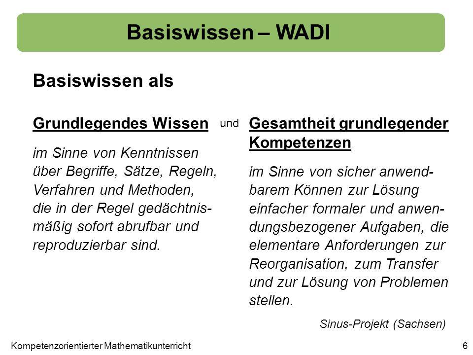Basiswissen als Basiswissen – WADI 6 Grundlegendes WissenGesamtheit grundlegender Kompetenzen im Sinne von Kenntnissen über Begriffe, Sätze, Regeln, V
