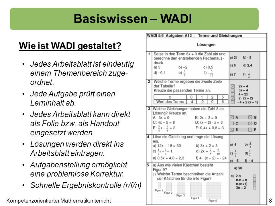 Basiswissen – WADI Wie ist WADI gestaltet? Jedes Arbeitsblatt ist eindeutig einem Themenbereich zuge- ordnet. Jede Aufgabe prüft einen Lerninhalt ab.