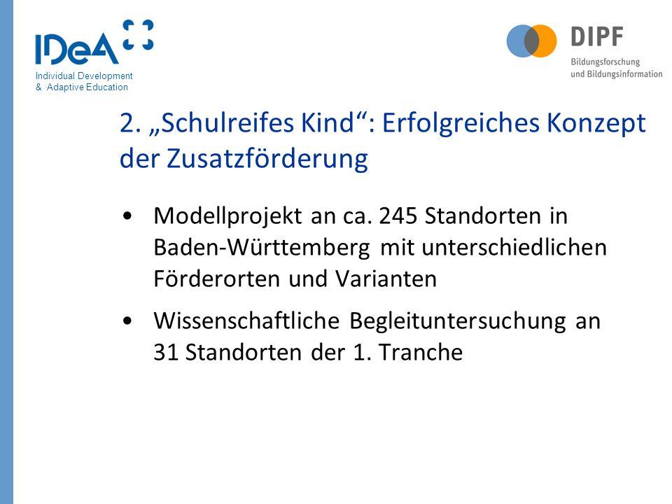 Individual Development & Adaptive Education 888 Zeitplan der wissenschaftlichen Begleituntersuchungen 1.