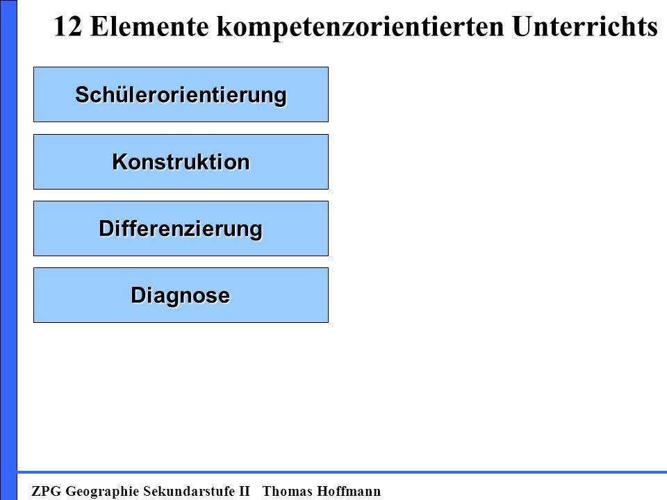 Schülerorientierung Konstruktion Diagnose Differenzierung 12 Elemente kompetenzorientierten Unterrichts ZPG Geographie Sekundarstufe II Thomas Hoffmann