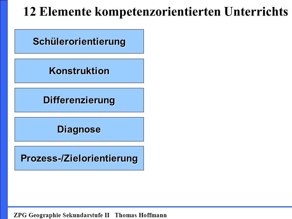 Schülerorientierung Konstruktion Prozess-/Zielorientierung Diagnose Differenzierung 12 Elemente kompetenzorientierten Unterrichts ZPG Geographie Sekundarstufe II Thomas Hoffmann