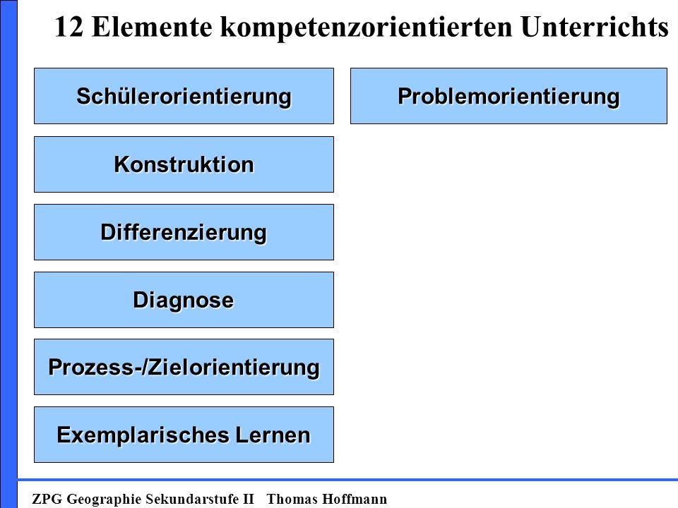 SchülerorientierungProblemorientierung Konstruktion Prozess-/Zielorientierung Exemplarisches Lernen Diagnose Differenzierung 12 Elemente kompetenzorientierten Unterrichts ZPG Geographie Sekundarstufe II Thomas Hoffmann