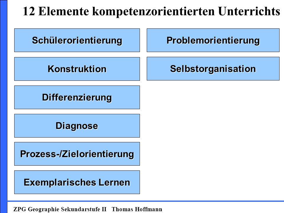 SchülerorientierungProblemorientierung Konstruktion Selbstorganisation Prozess-/Zielorientierung Exemplarisches Lernen Diagnose Differenzierung 12 Elemente kompetenzorientierten Unterrichts ZPG Geographie Sekundarstufe II Thomas Hoffmann