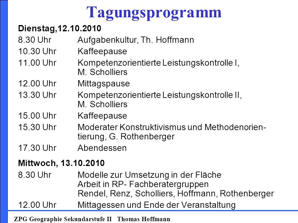Tagungsprogramm Dienstag,12.10.2010 8.30 UhrAufgabenkultur, Th.
