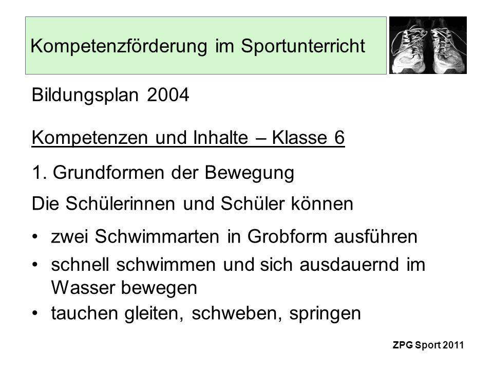 Kompetenzförderung im Sportunterricht ZPG Sport 2011 zum Beispiel: Kraul- und Rückenkraulschwimmen in Grobform basierend auf einem Fachschaftsbeschluss Kerncurriculum der Schule Musterhausen