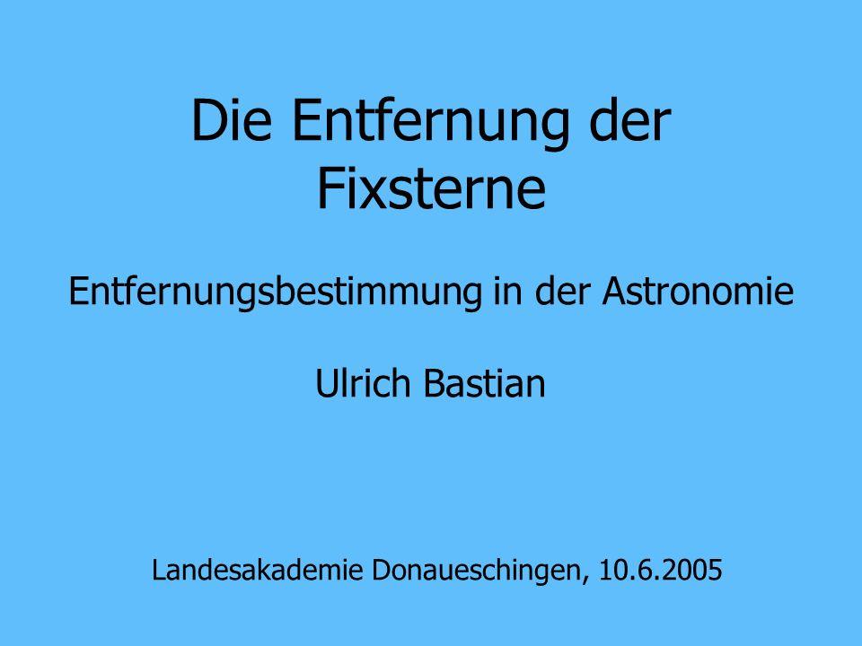 Entfernungsbestimmung Landesakademie Donaueschingen, 10.6.200512 Einleitung Die Astronomie ist die Naturwissenschaft vom Universum Sie kann ihre Forschungsobjekte nicht anfassen Sie hat nur Strahlung als Informationsquelle Sie ist eine sehr statistische Wissenschaft Ein Hauptproblem: Entfernung der Objekte