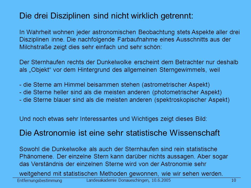Entfernungsbestimmung Landesakademie Donaueschingen, 10.6.200510 Die drei Disziplinen sind nicht wirklich getrennt: In Wahrheit wohnen jeder astronomi