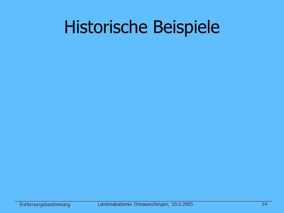 Entfernungsbestimmung Landesakademie Donaueschingen, 10.6.200514 Historische Beispiele
