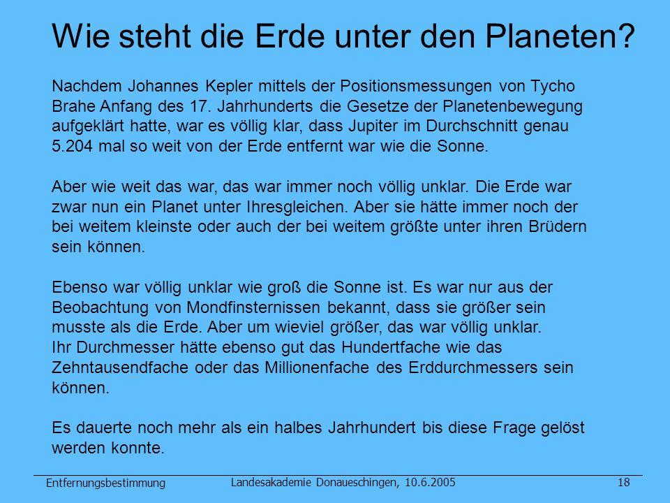 Entfernungsbestimmung Landesakademie Donaueschingen, 10.6.200518 Wie steht die Erde unter den Planeten? Nachdem Johannes Kepler mittels der Positionsm