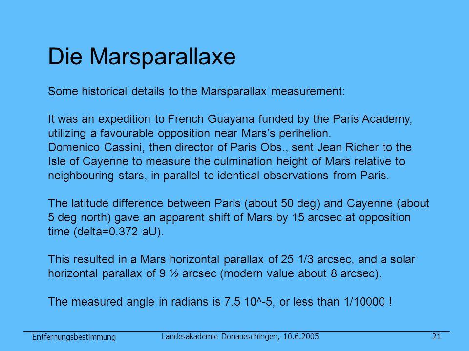 Entfernungsbestimmung Landesakademie Donaueschingen, 10.6.200521 Die Marsparallaxe Some historical details to the Marsparallax measurement: It was an