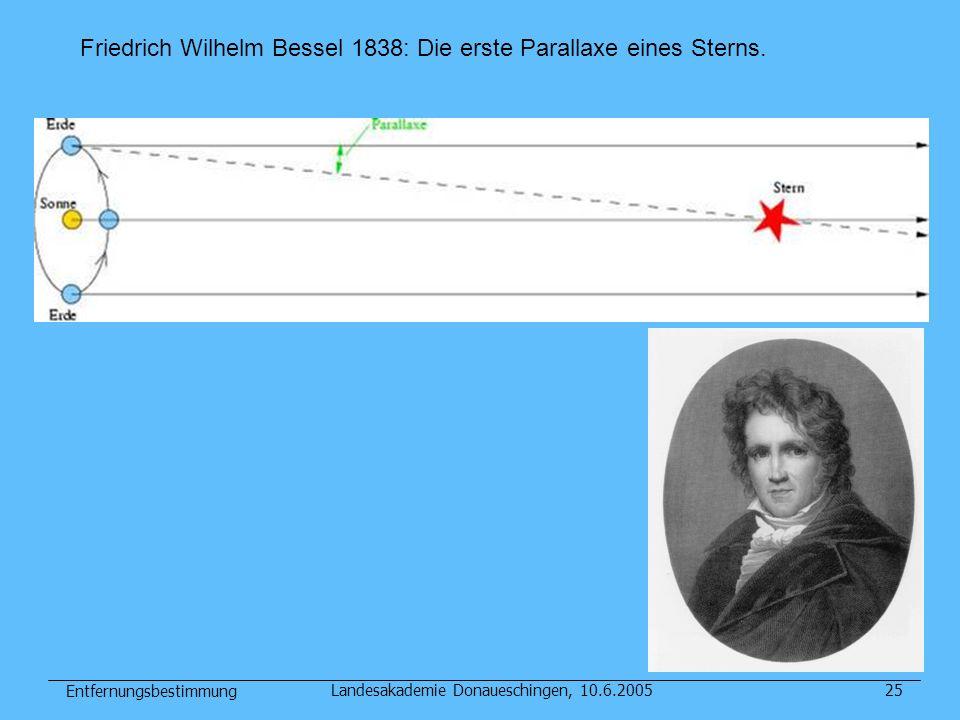 Entfernungsbestimmung Landesakademie Donaueschingen, 10.6.200525 Friedrich Wilhelm Bessel 1838: Die erste Parallaxe eines Sterns.