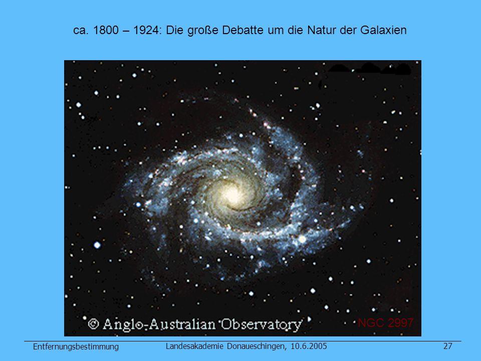 Entfernungsbestimmung Landesakademie Donaueschingen, 10.6.200527 NGC 2997 ca. 1800 – 1924: Die große Debatte um die Natur der Galaxien