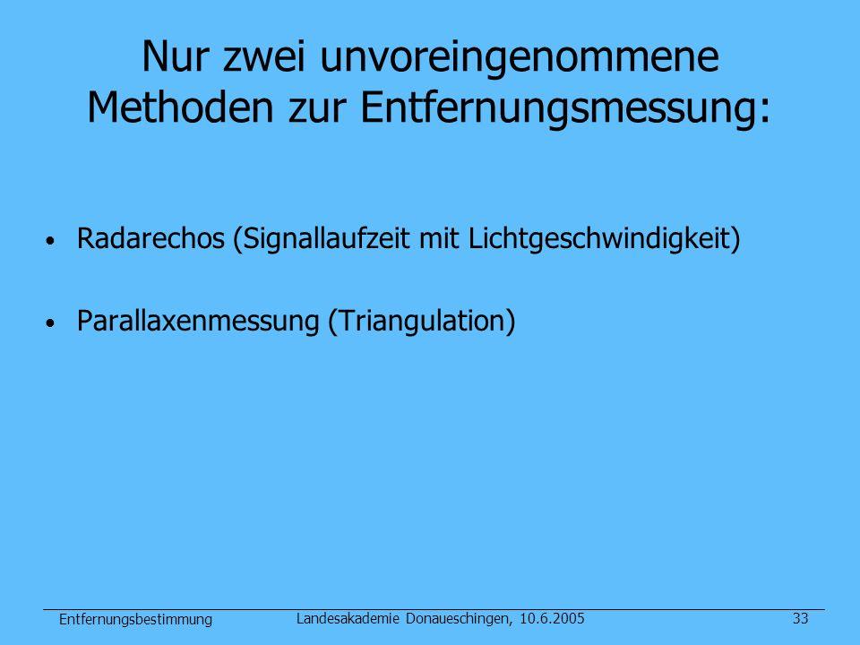 Entfernungsbestimmung Landesakademie Donaueschingen, 10.6.200533 Nur zwei unvoreingenommene Methoden zur Entfernungsmessung: Radarechos (Signallaufzei