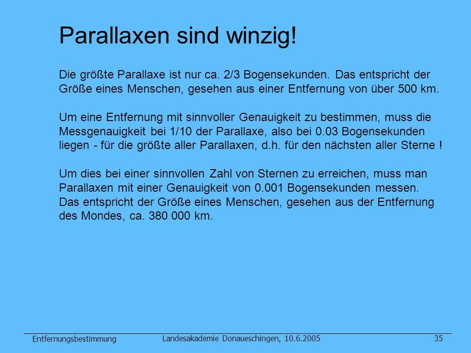 Entfernungsbestimmung Landesakademie Donaueschingen, 10.6.200535 Parallaxen sind winzig! Die größte Parallaxe ist nur ca. 2/3 Bogensekunden. Das entsp