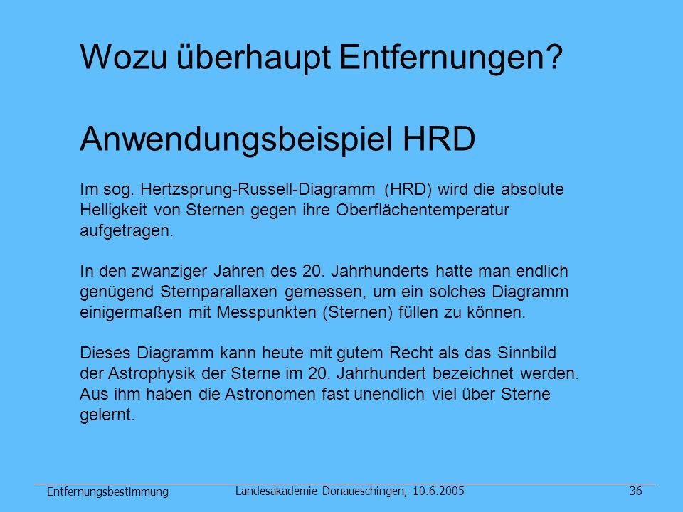Entfernungsbestimmung Landesakademie Donaueschingen, 10.6.200536 Wozu überhaupt Entfernungen? Anwendungsbeispiel HRD Im sog. Hertzsprung-Russell-Diagr