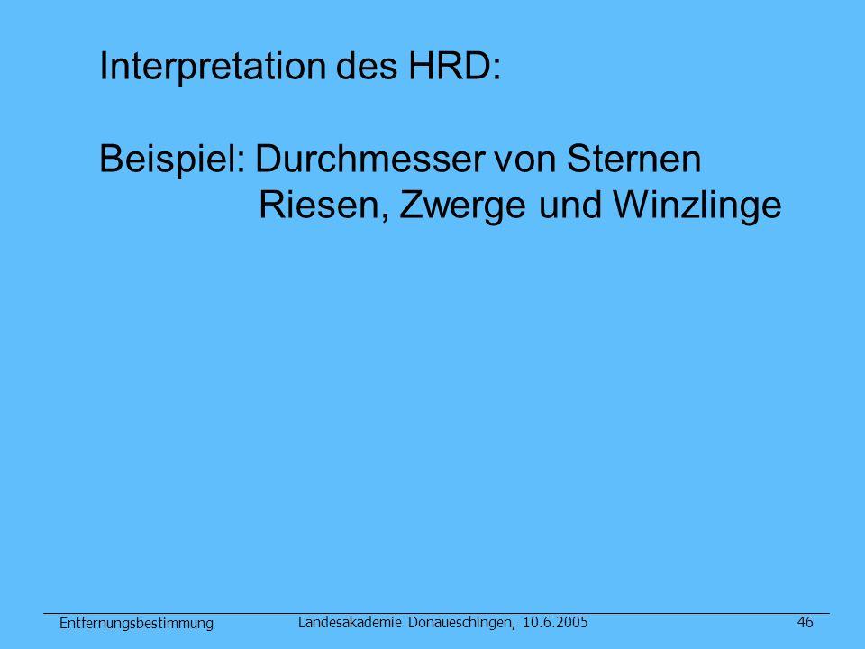 Entfernungsbestimmung Landesakademie Donaueschingen, 10.6.200546 Interpretation des HRD: Beispiel: Durchmesser von Sternen Riesen, Zwerge und Winzling