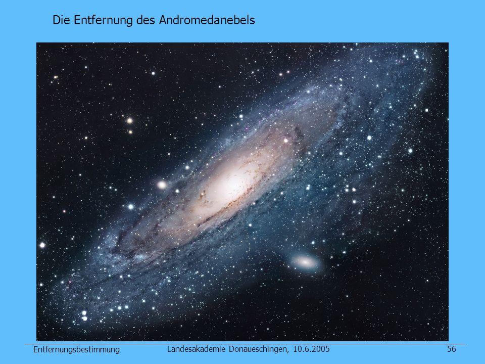 Entfernungsbestimmung Landesakademie Donaueschingen, 10.6.200556 Die Entfernung des Andromedanebels