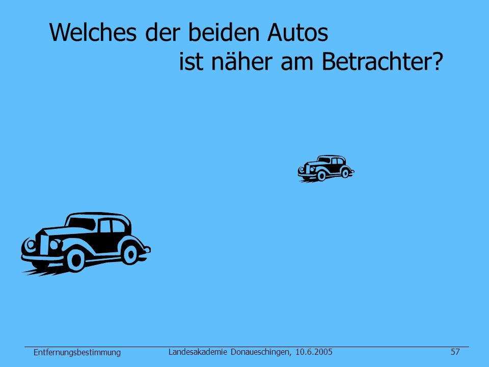Entfernungsbestimmung Landesakademie Donaueschingen, 10.6.200557 Welches der beiden Autos ist näher am Betrachter?