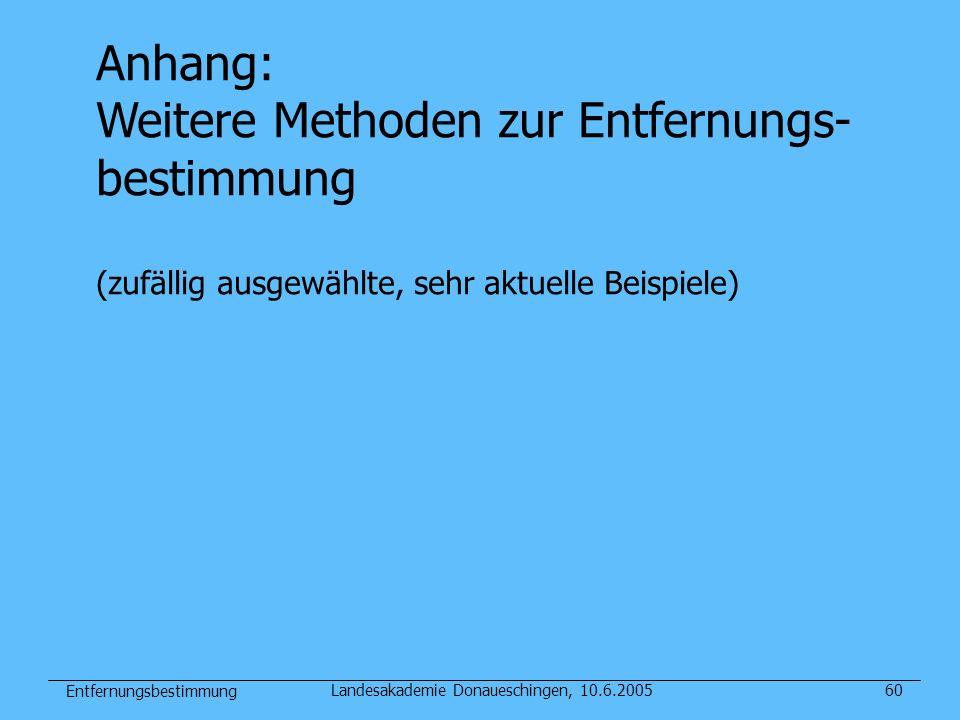 Entfernungsbestimmung Landesakademie Donaueschingen, 10.6.200560 Anhang: Weitere Methoden zur Entfernungs- bestimmung (zufällig ausgewählte, sehr aktu