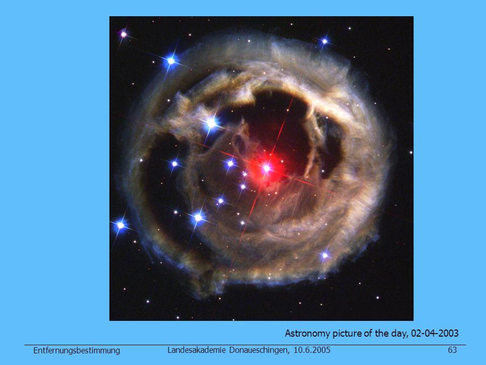 Entfernungsbestimmung Landesakademie Donaueschingen, 10.6.200563 Astronomy picture of the day, 02-04-2003