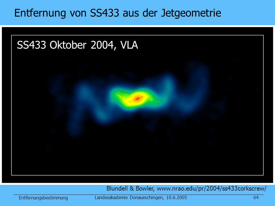Entfernungsbestimmung Landesakademie Donaueschingen, 10.6.200564 SS433 Oktober 2004, VLA Blundell & Bowler, www.nrao.edu/pr/2004/ss433corkscrew/ Entfe