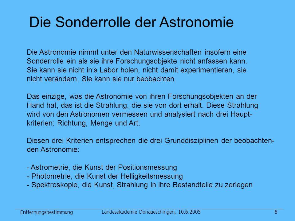 Entfernungsbestimmung Landesakademie Donaueschingen, 10.6.200529 Die Parallaxe ist die einzige Methode zur Entfernungsbestimmung in der Astronomie, die keinerlei Vorkenntnise oder Annahmen über das jeweils beobachtete Objekt benötigt.